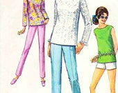 Simplicity 7690 Vintage 60s Blouse top Sleeve style Pants Sew Pattern