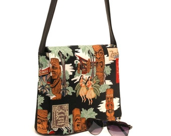 US Handmade Messenger Bag Tikie Island Hawaiian Pattern Cotton Fabric Shoulder Bag, Cotton, New
