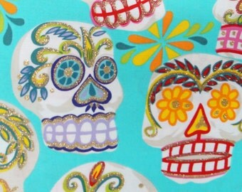"Sugar Skulls Day of the Dead Halloween Gothic Pattern Fabric, Blue Color, Cotton Fabric , 36"" X 44"", 1 Yard, New, Rare"