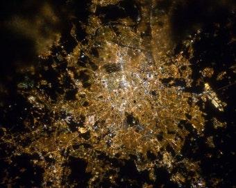 Lights of Paris City of Light Seen from Space Orbital View of Night Streetlights Modern Science Art Urban NASA Earth Photography Photo Print