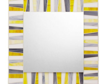 Stained Glass Mosaic Mirror - White, Yellow & Gray