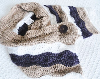 SALE Tan White Purple Arizona Mountain Striped Crocheted Shoulder Wrap Small Women's By Distinctly Daisy