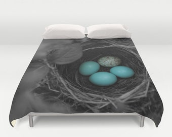 Duvet Cover - Comforter Cover - Bird Nest Blue Eggs - Black White Blue - Nature Bedding - Blanket Cover - King Queen Full Twin
