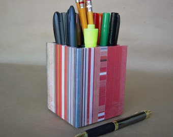 Square Pencil Cup With Red, Orange and Gray Stripes, Gifts For Him, Gifts For Teachers