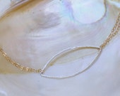 Hammered Silver marquis shaped pendant on double gold filled chain