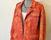 Red Orange 2X Cotton JACKET - Tomato Red Hand Dyed Upcycled Old Navy Cotton Safari Jacket - Adult Womens Plus Size Extra Large XL (50 chest)