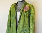Green Medium Dyed Denim JACKET - Apple Green Hand Dyed Upcycled Nine West Denim Blazer Jacket - Adult Womens Size Medium (42 chest)