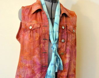 Orange Small Cotton VEST - Cherry Red Hand Dyed Urban Upcycled Southern Lady Cotton Denim Vest - Adult Womens Small (38 chest)