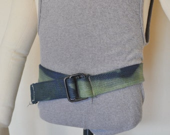"""Green Dyed Denim BELT #22 - Green Dyed Upcycled Cotton Denim D Ring Belt - Boho Recycled Childs XS Cotton Belt - 1.5 x 30"""""""