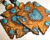Cowgirl Cross statement earrings polymer clay genuine turquoise