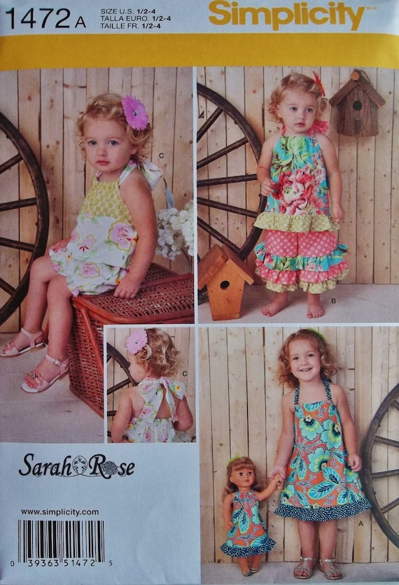 Little Girls Easy Sundress Pattern, Toddlers Ruffle Pants Pattern, Baby Girl Sundress Pattern, Sz 6 mo to 4, Simplicity 1472 seiwng pattern