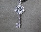 Seven Spiral Key / Key Necklace on Black Satin Cord / Lucky 7 /  Pleiades / Skeleton Keys