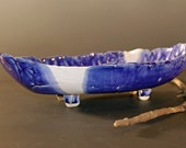 Blue and White, Pottery Serving Bowl, Fruit Bowl, Ceramics and Pottery, Oblong Bowl