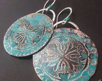 Grecian Relic Earrings, Copper and Silver, ThePurpleLilyDesigns