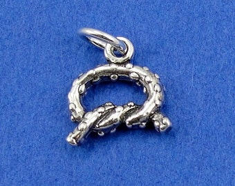 Pretzel Twist Charm - Sterling Silver Pretzel Twist Charm for Necklace or Bracelet
