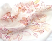 Wedding scarf, hand paint silk scarf, floral, orchid, pastel, art nouveau, wearable art, elegant, feminine, bridesmaid, custom made