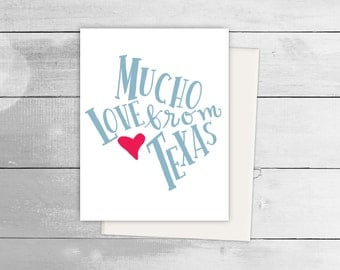 Mucho Love from Texas Greeting Card, Spanish Card, Blank Note Card, Spanish Language, Funny Birthday Card