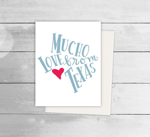 Mucho love from texas greeting card spanish card blank note like this item bookmarktalkfo Gallery