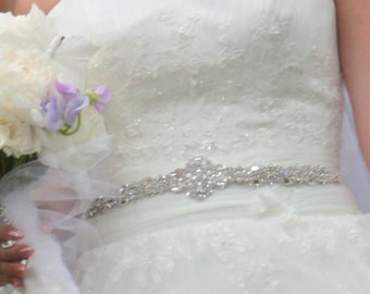 Victorian Style Wedding Accessories Bridal Dress Gown Beaded Jeweled Crystal Belt Sash Encrusted