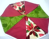 """Christmas Bunting, Red and Green Fabric Garland, Winter Party Banner, Pennants, 5 ft Long, Optional Jingle Bells,  """"Cranberry Pine"""""""