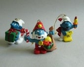 Set of 3 Vintage Smurf Christmas Holiday Ornaments from 1981, Papa Smurf, Caroler Smurf, Smurf with Gift Box