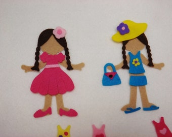 Paper Doll Felt Board  Set 62 pieces