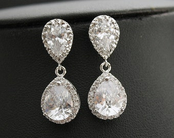 Bridal Earrings Wedding Jewelry Silver Clear Cubic Zirconia Crystal Teardrop Earrings Wedding Earrings Bridal Jewelry, Emma