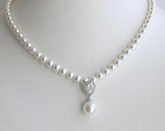 Pearl Necklace Wedding Jewelry Pearl Wedding Necklace Cubic Zirconia Necklace White ivory or Cream Swarovski Pearl Bridal Necklace, Ava