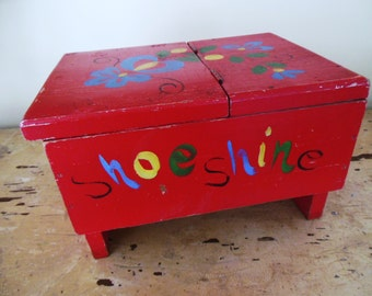 Vintage Red Box, Storage, Shoe Shine, Cottage Love, Hand Painted Folk Art