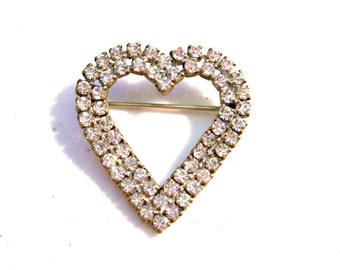 Vintage 1950's Rhinestone Heart Brooch Pin, Double Layer, Clear Prong Set Rhinestones, Mid Century, VisionsOfOlde