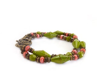 Green & Coral Bracelet -  Acrylic Bicone Beads - Fire Polished Czech Glass - Multistrand Boho Bracelet