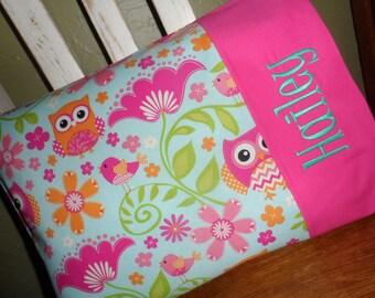 Owl Personalized Travel-size Pillowcase - Toddler Pillow Pillowcase - Kids Pillowcase