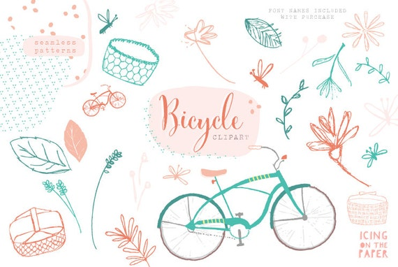 VECTOR Bicycle Clipart - Flowers - Summer - Baskets - Vector - Digital - Instant Download - Vector