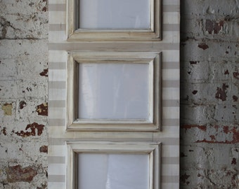 3 Opening 8x10 Distressed Stripe Frame in Popular Gray and White