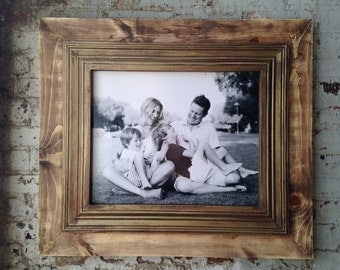 Rustic Distressed Frame Raw Wood Open Back Frame for Portrait or Canvas Frame