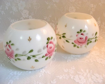 Vintage Opalescent Milk Glass Painted Pink Rose Vases