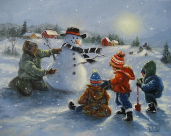 Snowman and Four Boys Art Print four brothers building snowman paintings, snowman wall art, Vickie Wade art