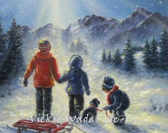 Three Snow Children Art Print, three children, dog, sled, Jesus star, snow paintings, starry night, wisemen, heavenly, Vickie Wade Art