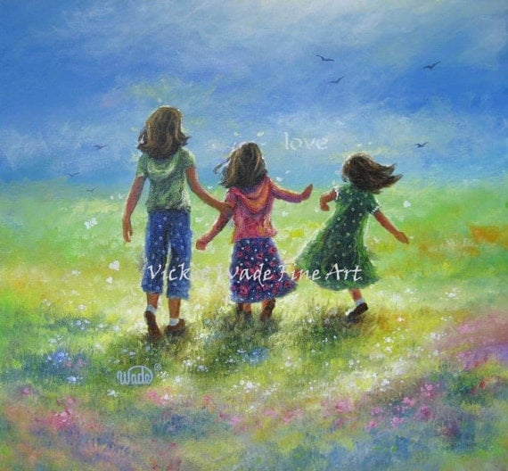 Three Sisters Original Oil Painting 20X20 three girls happy sunshine love childrens wall art,sisters running meadow, Vickie Wade Art