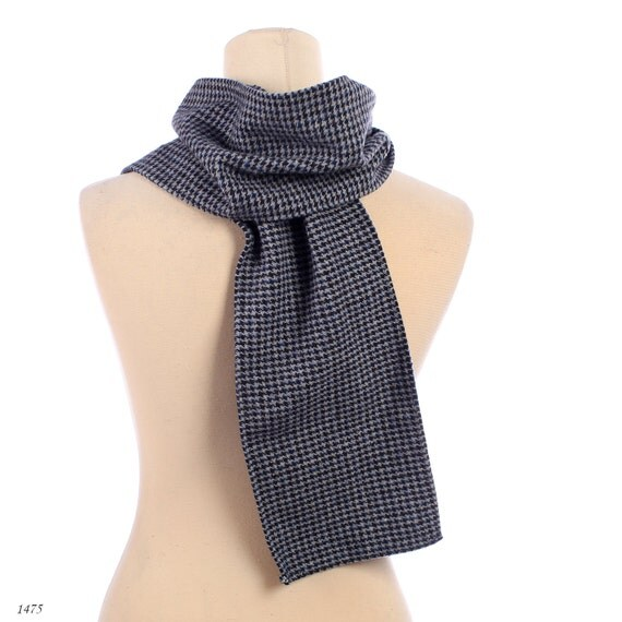 Mens Neck Scarf Vintage Wool Scarf  Houndstooth Printed Scarf  Mens Formal Neck Scarves