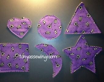 Purple Ladybugs and flowersFabric-Basic Shapes Magnets Triangle, Heart, Circle, Square, Moon, Star