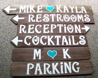 Wedding signs w/stakes Reception decorations wooden directional signage engagement country baby bridal shower outdoor barn wood reclaimed