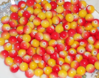 Vintage Glass Beads 8mm Candy Colorful Kids Juvenile Two Tone Red Yellow Shabby Chic cottage Child. #144