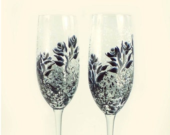 Personalized 30th Wedding Anniversary Champagne Flutes - Hand-Painted Pearl and Black Roses Set of 2 - Anniversary Flutes 25th Anniversary