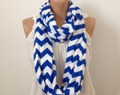 Chevron Infinity Scarf in Royal Blue and White