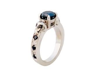 Black diamond skull engagement ring Hand made in NYC