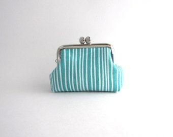 Aqua Coin Purse Frame Mini Pouch Mini Jewelry Case with Ring Pillow - aqua stripe