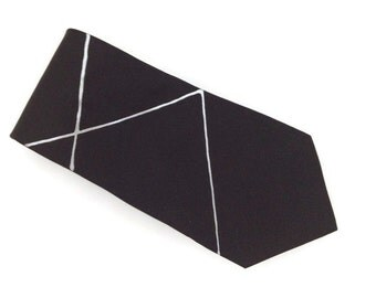 Black Hand Painted Silk Tie with Silver Lines by Julie Riisnaes