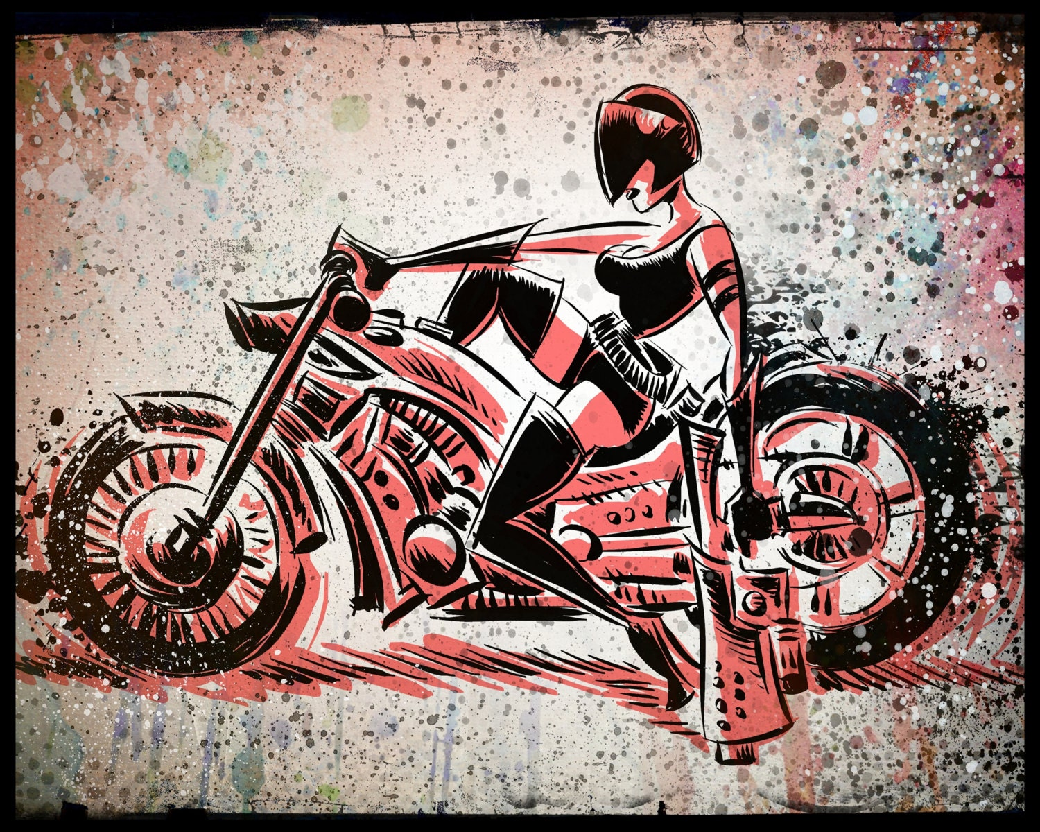 motorcycle girl gun print wall art art print bike woman. Black Bedroom Furniture Sets. Home Design Ideas