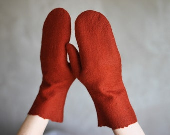 Fox brown felted mittens maroon gloves winter arm warmers women Christmas gift merino wool mittens - ready to ship
